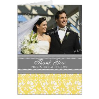 Carte de remerciements gris de mariage de photo de