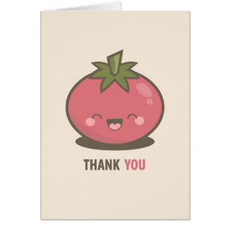 Carte de remerciements heureux mignon de tomate de