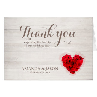 Carte de remerciements hhn01 de mariage de rose