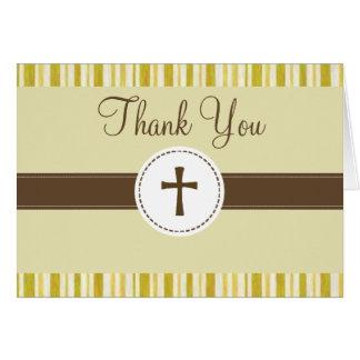 Carte de remerciements jaune de rayure de baptême