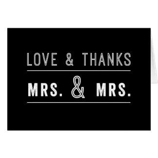 Carte de remerciements lesbien gai de mariage de