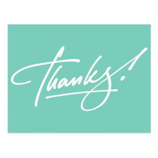 Carte de remerciements moderne de turquoise de