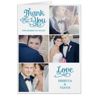 Carte de remerciements moderne Turquois de mariage