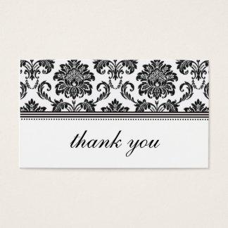 Carte de remerciements noir et blanc de damassé