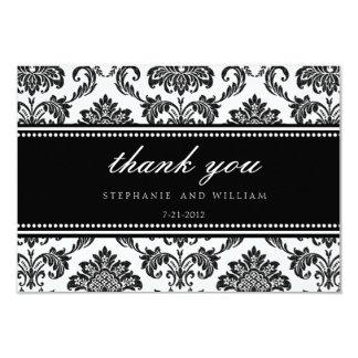 Carte de remerciements noir et blanc de mariage carton d'invitation 8,89 cm x 12,70 cm