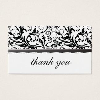 Carte de remerciements noir et blanc de remous
