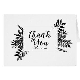 Carte de remerciements noir et blanc des tropiques