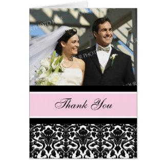 Carte de remerciements noir rose de mariage de