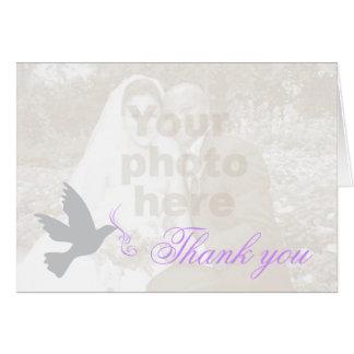 Carte de remerciements pourpre de mariage de photo