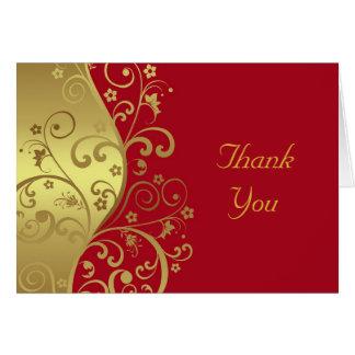 Carte de remerciements--Remous de rouge et d'or