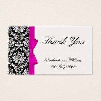 Carte de remerciements rose de mariage damassé