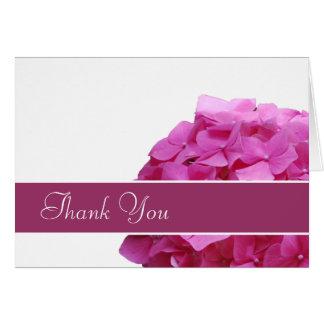 Carte de remerciements rose d'hortensia