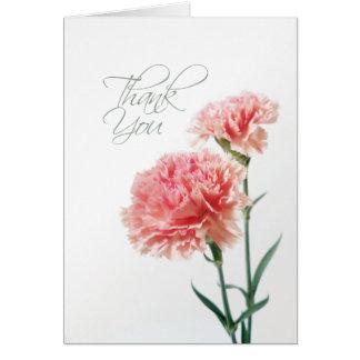 Carte de remerciements rose d'oeillet