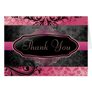 Carte de remerciements rose vintage succulent de