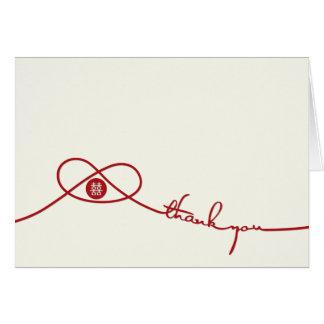 Carte de remerciements rouge de mariage de bonheur