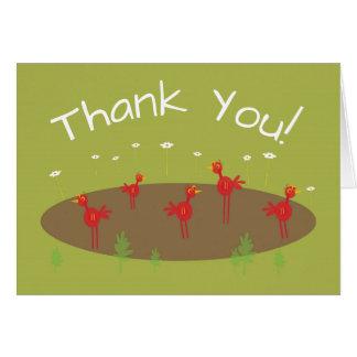 Carte de remerciements rouge orienté de zoo de