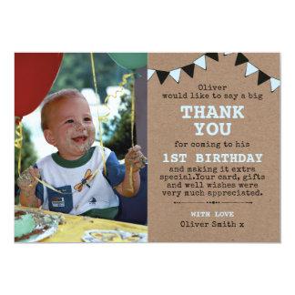 Carte de remerciements rustique d'anniversaire de