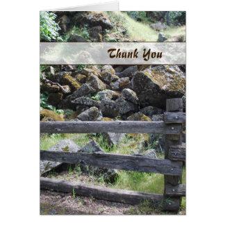 Carte de remerciements rustique de barrière de