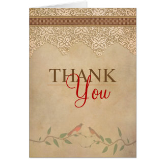 Carte de remerciements rustique de dentelle
