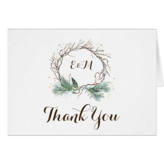Carte de remerciements rustique de mariage de