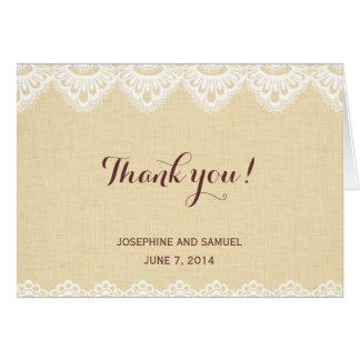 Carte de remerciements rustique de napperon de
