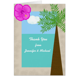 Carte de remerciements tropical de mariage de