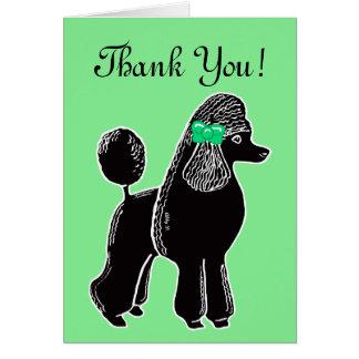 Carte de remerciements vert clair noir de caniche