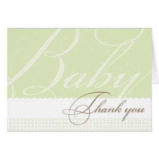 Carte de remerciements vert de baby shower