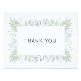 Carte de remerciements vert de feuillage - plat
