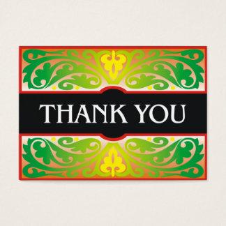 Carte de remerciements vert et noir décoratif