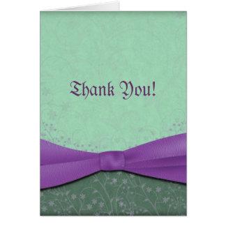 Carte de remerciements vert et pourpre de mariage