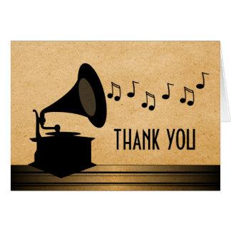 Carte de remerciements vintage de phonographe de