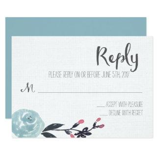 Carte- de réponse florale de mariage d'aquarelle carton d'invitation 8,89 cm x 12,70 cm
