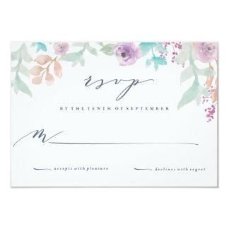 Carte- de réponse florale fraîche de mariage carton d'invitation 8,89 cm x 12,70 cm