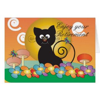 Carte de retraite avec le chat noir observant un