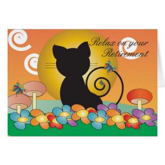 Carte de retraite avec le chat noir observant un c