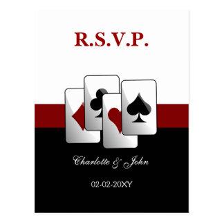Carte de rsvp de mariage de Vegas Carte Postale