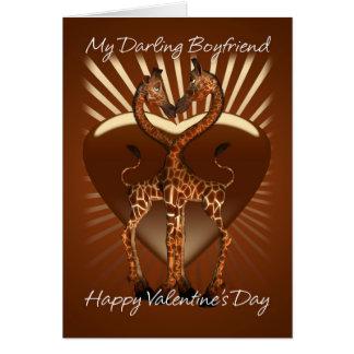 Carte de Saint-Valentin d'ami avec des girafes