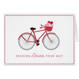 Carte de Saint-Valentin de bicyclette avec des