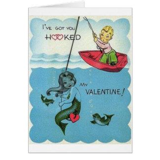Carte de Saint-Valentin de sirène accrochée par