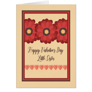 Carte de Saint-Valentin, petite soeur avec des