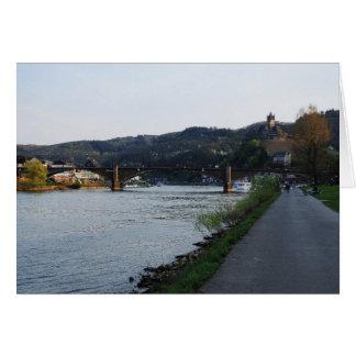 Carte de salutation Cochem Moselle-rive le soir