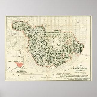Carte de San Francisco montrant à 1906 le feu