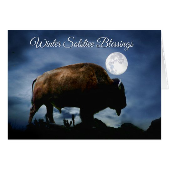 Carte de solstice d'hiver de bison de Natif