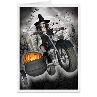 Carte de sorcière - sorcière de cycliste