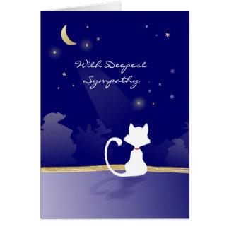Carte de sympathie de chat - lune et étoiles