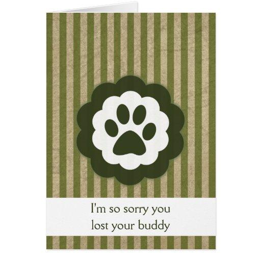 carte de sympathie vintage de perte d'animal