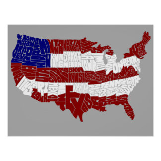 Carte de typographie de drapeau des Etats-Unis