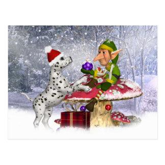 carte de vacances avec le chiot et l'elfe