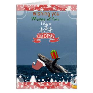 carte de vacances de baleine de bosse de Père Noël